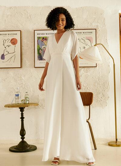 A-Line V-neck Floor-Length Evening Dress With Ruffle