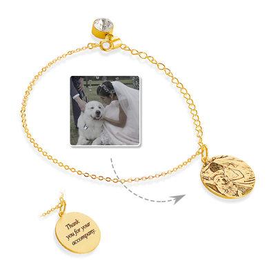 personlig 18k Gullbelagt Graverte armbånd Birthstone armbånd med fødselsstein -
