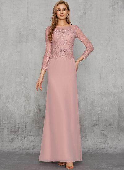 Sheath/Column Scoop Neck Floor-Length Chiffon Evening Dress With Lace Sash Sequins