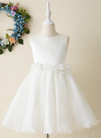 A-Line Knee-length Flower Girl Dress - Organza Sleeveless Scoop Neck