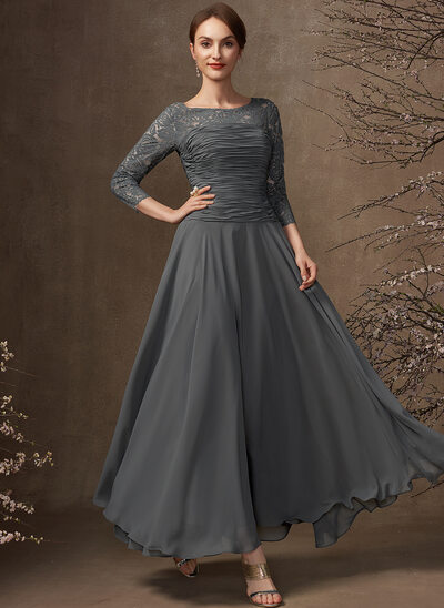 A-Line Scoop Neck Ankle-Length Chiffon Lace Mother of the Bride Dress With Ruffle