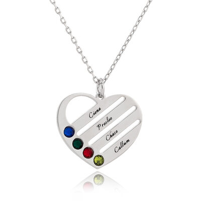 [Free Shipping]Custom Silver Engraving/Engraved Four Birthstone Necklace Family Necklace With Heart - Birthday Gifts Mother's Day Gifts (288229460)