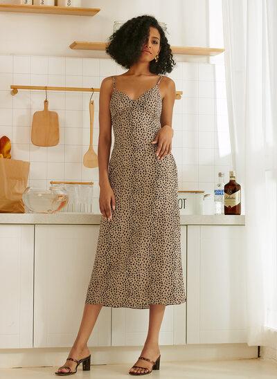 A-Line V-neck Tea-Length Bridesmaid Dress