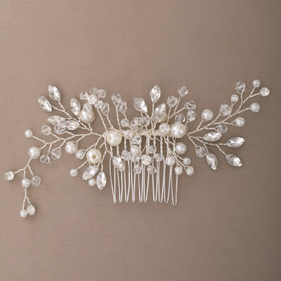 Ladies Elegant Crystal/Imitation Pearls/Glass Combs & Barrettes With Venetian Pearl (Sold in single piece)