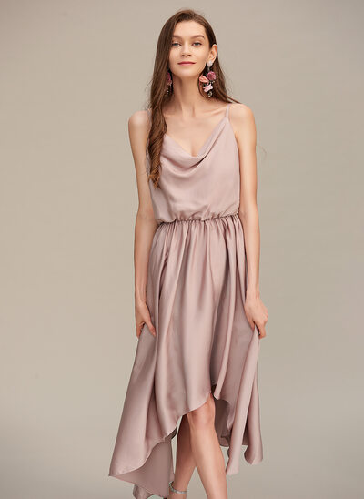 A-Line Cowl Neck Asymmetrical Prom Dresses
