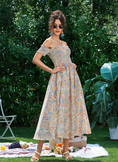 A-Line Off-the-Shoulder Tea-Length Prom Dresses