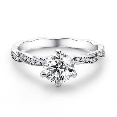 Sammenflettet Round Cut 925 sølv Forlovelsesringer