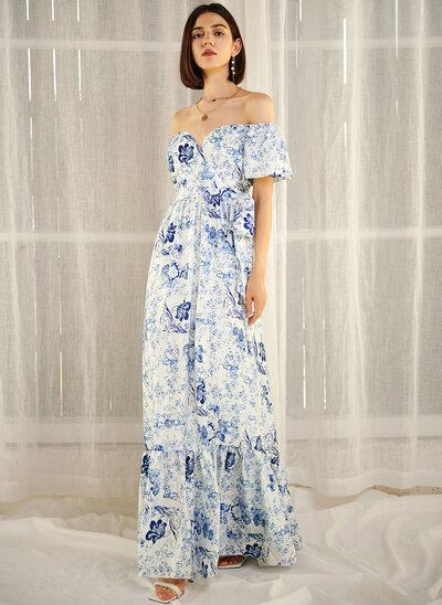 A-Line Off-the-Shoulder Floor-Length Evening Dress