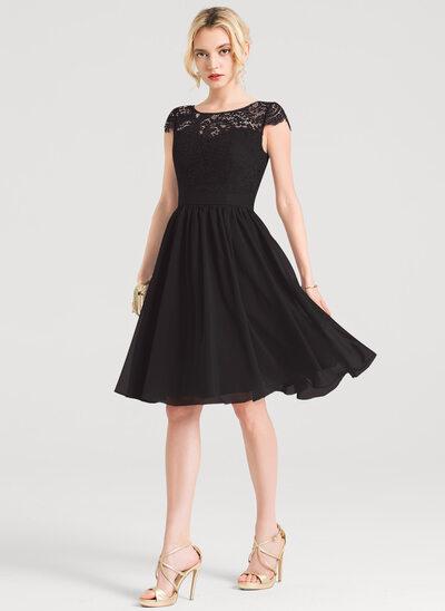 A-Line Scoop Neck Knee-Length Chiffon Cocktail Dress