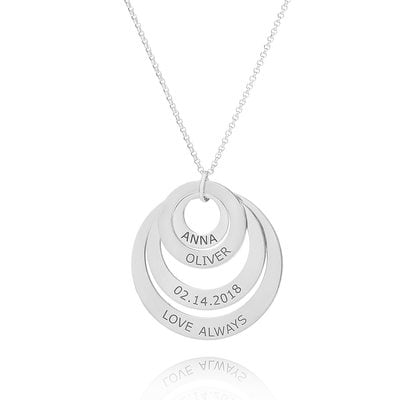 [Free Shipping]Custom Silver Engraving/Engraved Family Four Circle Necklace With Kids Names - Birthday Gifts Mother's Day Gifts (288215485)