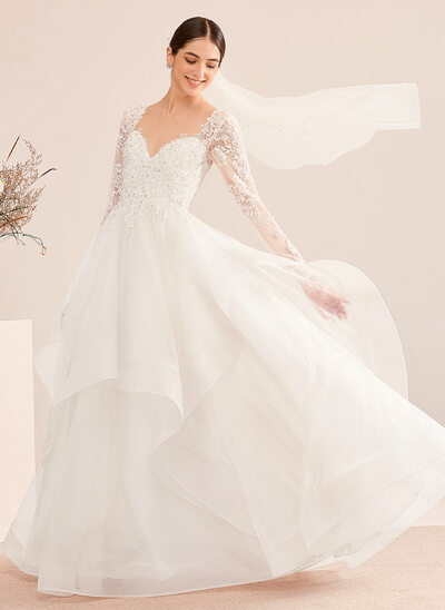 [Free Shipping]Ball-Gown/Princess V-neck Floor-Length Wedding Dress With Beading Sequins