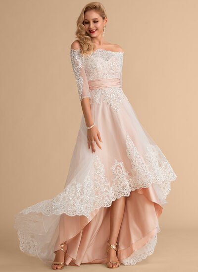 A-Line Off-the-Shoulder Asymmetrical Satin Tulle Lace Wedding Dress With Sequins