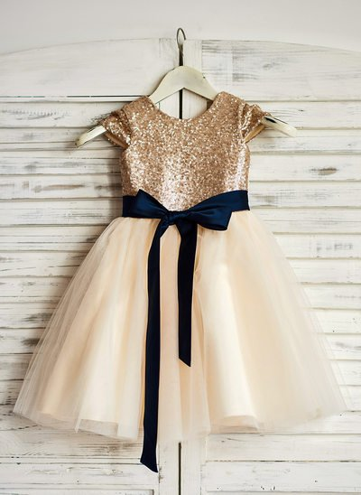 A-Line Knee-length Flower Girl Dress - Tulle/Sequined Sleeveless Scoop Neck With Sash