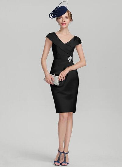 Sheath/Column V-neck Knee-Length Satin Cocktail Dress With Ruffle Beading