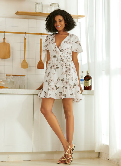 A-Line V-neck Short/Mini Bridesmaid Dress With Ruffle