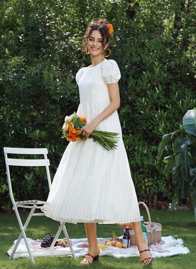 A-Line Tea-Length Wedding Dress