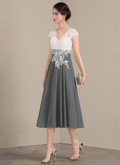 A-Line V-neck Tea-Length Chiffon Lace Mother of the Bride Dress