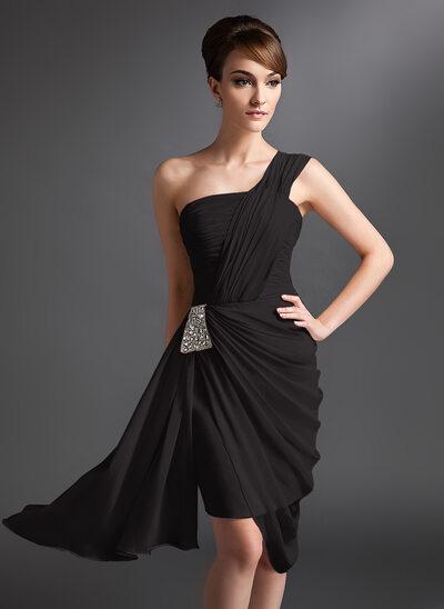 Sheath/Column One-Shoulder Asymmetrical Chiffon Cocktail Dress With Ruffle Beading