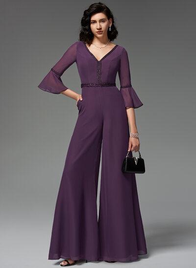V-neck Floor-Length Chiffon Evening Dress With Beading Sequins Pockets