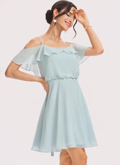 A-Line V-neck Short/Mini Bridesmaid Dress With Cascading Ruffles