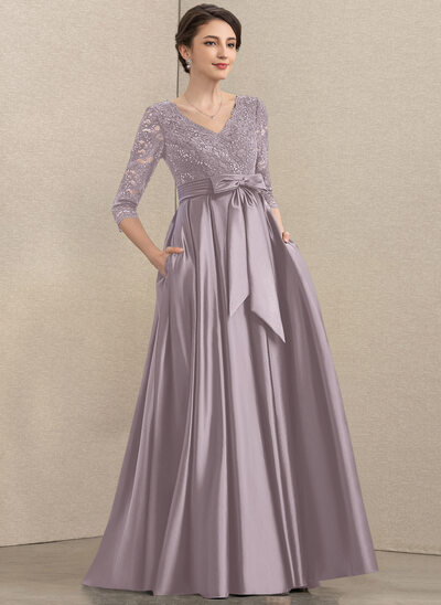A-Line V-neck Floor-Length Satin Lace Mother of the Bride Dress With Sequins Bow(s) Pockets