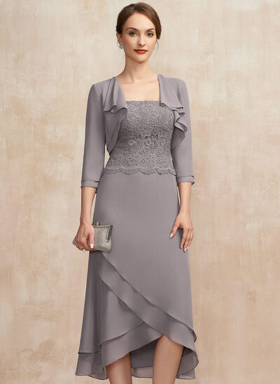A-Line Square Neckline Asymmetrical Chiffon Lace Mother of the Bride Dress With Cascading Ruffles