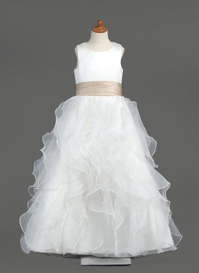 Ball Gown Floor-length Flower Girl Dress - Organza/Satin Sleeveless Scoop Neck With Ruffles/Sash