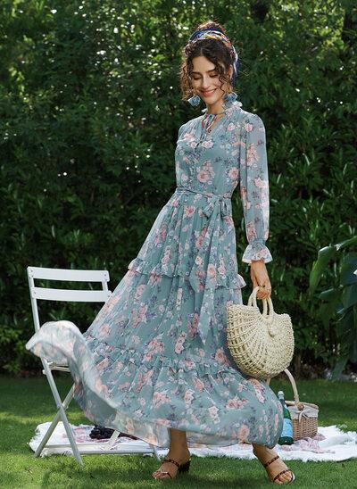 V-neck Ankle-Length Evening Dress