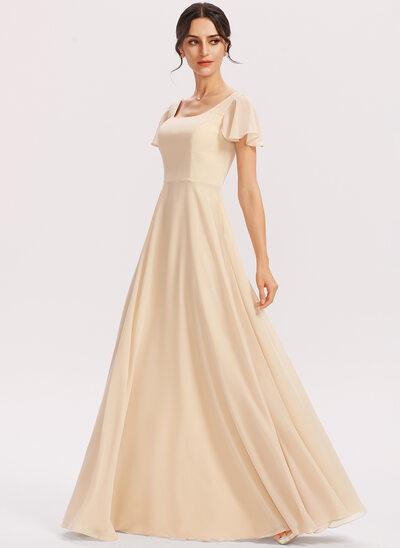 A-Line Square Neckline Floor-Length Bridesmaid Dress With Cascading Ruffles