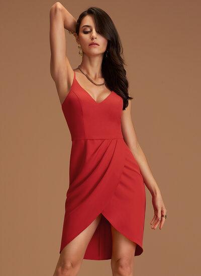 Sheath/Column V-neck Asymmetrical Stretch Crepe Cocktail Dress