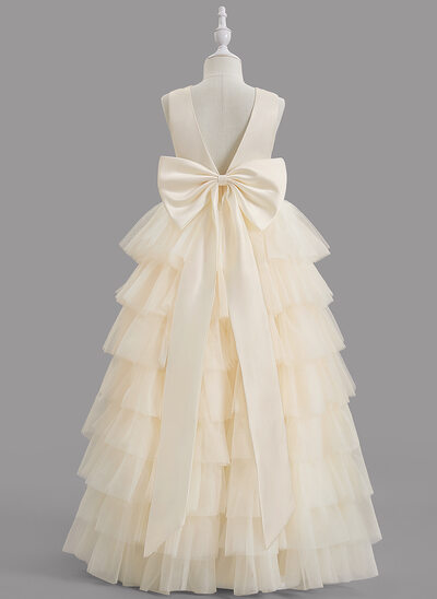 Ball-Gown/Princess Floor-length Flower Girl Dress - Satin/Tulle Sleeveless Scoop Neck With Ruffles/Bow(s)