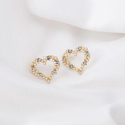 Ladies' Heart Shaped Alloy/Rhinestones/Imitation Pearls Earrings