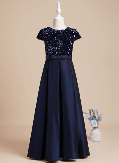 A-Line Floor-length Flower Girl Dress - Sequined Short Sleeves Scoop Neck With Sequins
