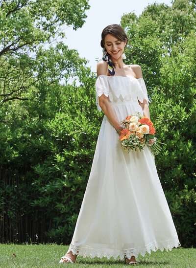 Sheath/Column Off-the-Shoulder Ankle-Length Wedding Dress With Lace