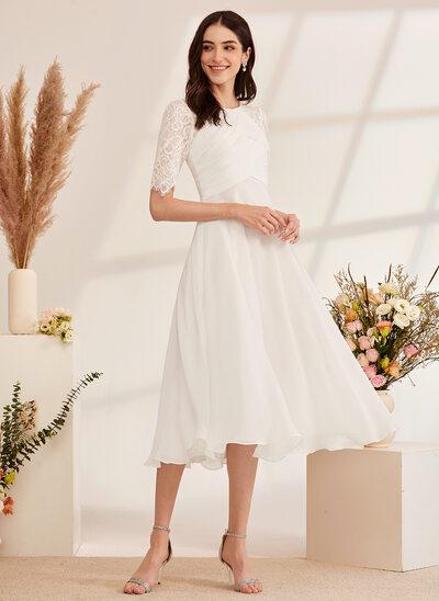 [Gratis Frakt]A-Formet Te-lengde Brudekjole med Profilering