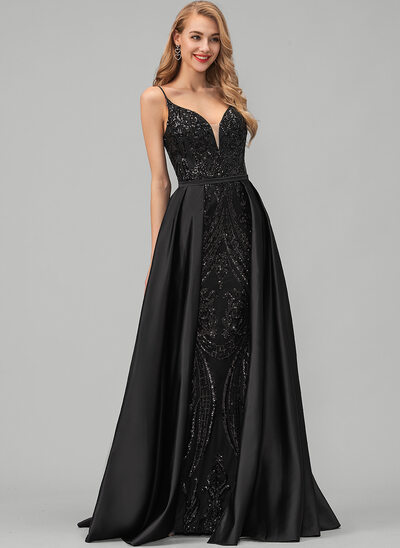 A-Line V-neck Floor-Length Satin Evening Dress With Sequins