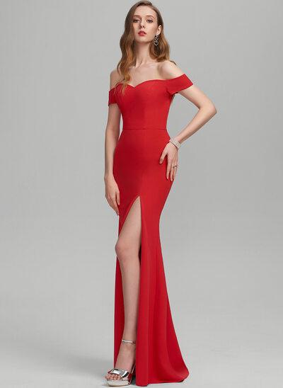 Sheath/Column Off-the-Shoulder Floor-Length Stretch Crepe Evening Dress With Split Front