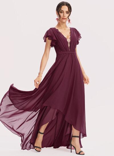 A-Line V-neck Asymmetrical Bridesmaid Dress With Lace Cascading Ruffles
