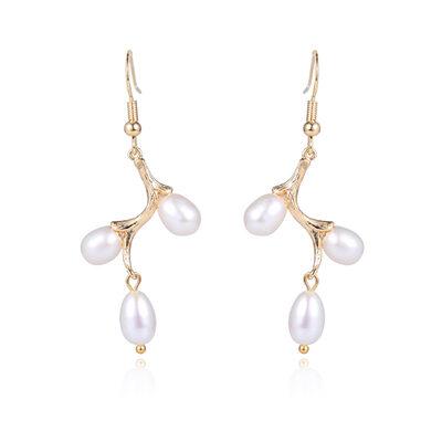 Damene ' Elegant Perle/kobber/Gold Plated Perle øredobber For Henne