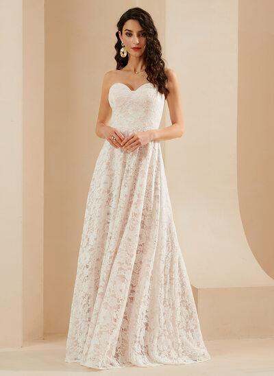 A-Line Sweetheart Floor-Length Wedding Dress