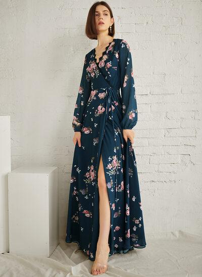 A-Line V-neck Floor-Length Evening Dress With Split Front