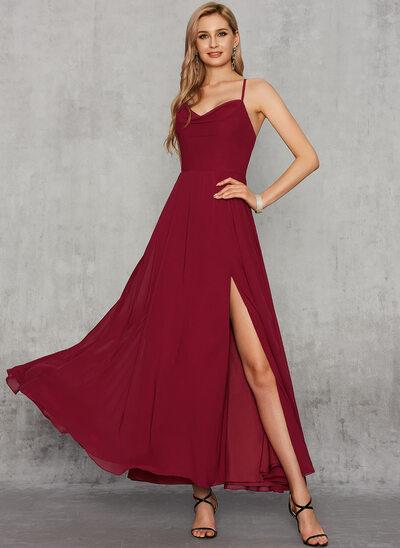A-Line V-neck Ankle-Length Chiffon Evening Dress With Split Front