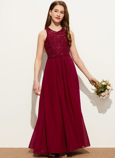 A-Line Scoop Neck Floor-Length Chiffon Lace Junior Bridesmaid Dress With Sequins