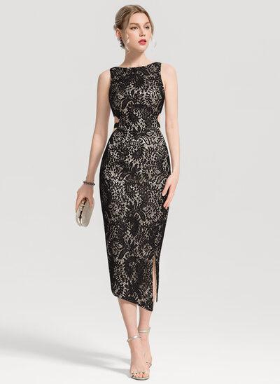 Sheath/Column Scoop Neck Tea-Length Lace Cocktail Dress With Split Front