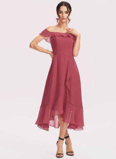 A-Line Off-the-Shoulder Tea-Length Bridesmaid Dress With Cascading Ruffles