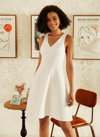 A-Line V-neck Short/Mini Wedding Dress