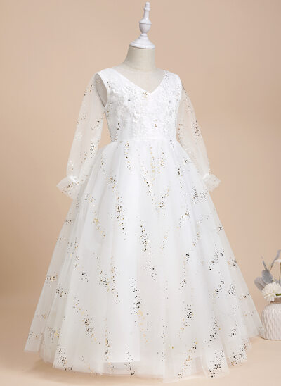 Ball-Gown/Princess Floor-length Flower Girl Dress - Tulle/Lace/Sequined Long Sleeves Scoop Neck With Beading/Flower(s)