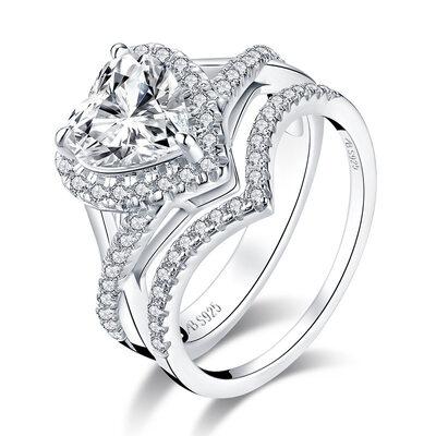 Stackable Heart Cut 925 Silver Bridal Sets