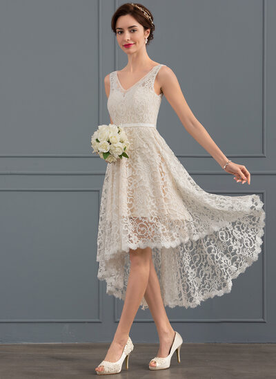 A-Line V-neck Asymmetrical Lace Wedding Dress