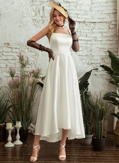 A-Line Square Neckline Asymmetrical Wedding Dress